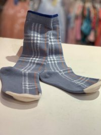 #11714 size: S/M/L Blue Ashes Checkered Long Sleeve Socks