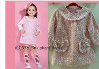 #10376 size : 1-2/2-3/3-4/4-5/5-6/6-7/7-8yrs Pink long sleeves short dress with 2 front pockets