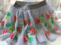 #1404 Size: 3/ 4 yr White Mesh with Lovely Fruits Skirt
