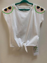 #12257 size : 6/10/14 yrs Full cotton white color fruit pattern top
