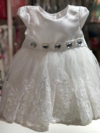 #4440 size:6-9/12/24M white party dress