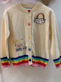 #10433 Size 4-5yrs White color rainbow knitted cardigan