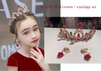#14043 Red ruby and rhinestones crown + rose ear rings set