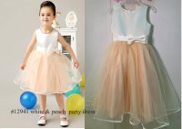 #12941 Size:8-9/10-11yrs White and peach color bowknot party dress
