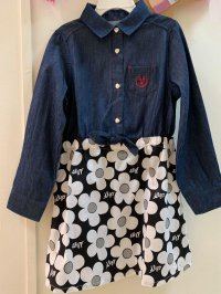 #11219 Size: 5-6/7-8/12-13yrs Full cotton dark blue color denim and flower pattern dress