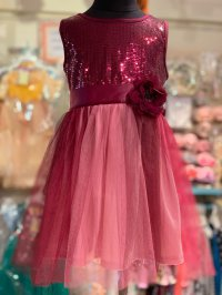 #11536 size 4/5/6/6-7yrs magenta sequin + mesh party dress