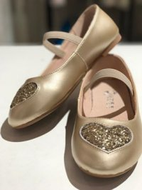 #8149 size : 4-10yrs Golden Glitter Heart PU Leather Shoes