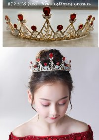 #12528 Red color rhinestones crown fit for 3-10yrs