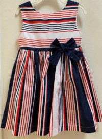 #12474 Size:4/6yrs 100%cotton red,white and blue Stripe party dress