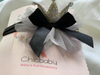 #11360 Black Baby Hairband with Crown
