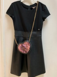 #11259 Size:12-14/14-15yrs Black color imitation leather dress (promotion - FREE 1 bag(pink OR gold)