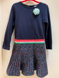 #10577 Size for 3/4/5/6yrs Dark blue color flower pattern dress