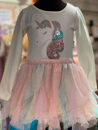 #10419 Size for 12-18m /18-24 m/ 2/4 yrs White color unicorn mesh dress