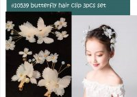 #10539 Butterfly & flowers hair clip 3pc set