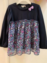 #11887 Size 7-8/8-9/9-10yrs Dark blue color flower pattern top