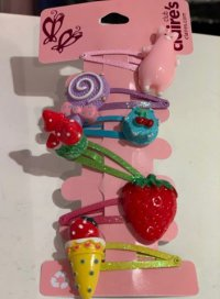 #12466 Red/green/yellow/blue/pink/purple color strawberries and candy pattern 6 hair clips set