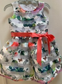 #12476 Size:2/3/4/5/12yrs floral print organza shadow stripe party dress with ribbon belt