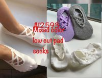 #12593 size: 4-6/7-9yrs Purple x offwhite x gray low cut pad Socks
