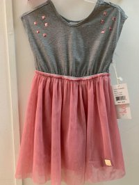 #10994 size: 4/5-6/9-10/10-12 yrs Grey Dress with Gray Pink glitter