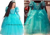 #11896 size: 3-4/5-6/7-8/9-10/10-11yrs Blue color princess dress+ gloves set