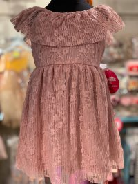 #10926 Size for 2/3/4/6/ 6x yrs Dark pink color flower pattern dress