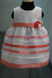 #6003 size:12/24M white stripe party dres