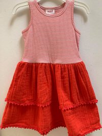 #12253 size: 2/4/6/7/8yrs 95% cotton,5% elastane, orange color stripe pattern dress