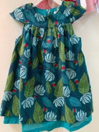#12472 Size:2/3/4/5/6/8yrs 100%cotton deep green leaf dress