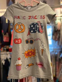 #12538 size : 3/4/5/6/8/10/12yrs 100% cotton grey color printing ice-cream pattern dress