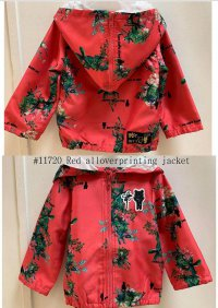 #11720 size: 2-3/3-4/4-5/5-6/6-7 yrs Red Allover Printing Jacket