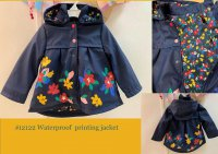 #12122 size : 2/3/4/5/6/8/10/12yrs Polyeter waterproof printing jacket with floral printing lining