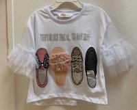 #12648 Size:2-3/4-5/5-6/7-8yrs White color shoes printing mesh Top
