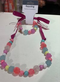 #11048 Colored beaded ribbon necklace + Bracelet