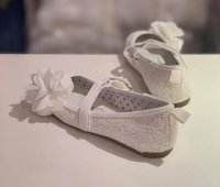 #12377 size : 5-9yrs white glitter with flower shoes