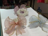 #11831 Ribbon with Pearl Elastic Hairband (Light Blue/ Light Purple/Pink)