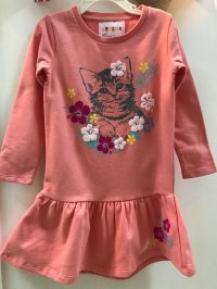 #10028 size:4-5/5-6yrs french terry inner brushed flower dress