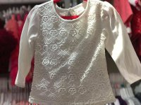 #9199 size:6M/12M/24M/2/8/10yrs Offwhite 100% cotton lace long sleeves top