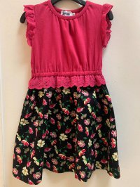 #13023 size : 3-4/4-5/5-6/8-9/10-12yrs Full cotton pink+black flower dress