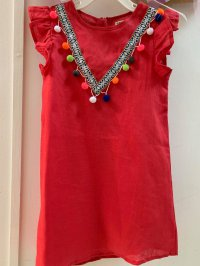 #11701 size:5/6/7-8 yrs Red color dress