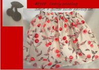 #8988 Size : 5-6/7-8yrs Cherry Printing Skirt + Glitter Silver Hairclip set