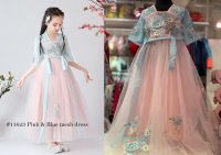 #11623 size : 4-5/6-7/8-9/10-11yrs Pink and green color gauze embroidered chinese girl skirt