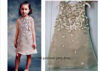 #12940 Size:4-5/6-7yrs Champagne gold color emb party dress