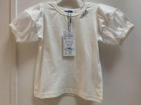 #13024 size:3-4/4-5/5-6/6-7/8-9/10-12yrs 100% cotton offwhite bowknot tee with puff sleeve