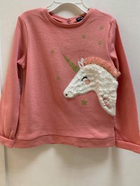 #13059 size: 4/5/6/8/10/12yrs 100% cotton coral color unicorn 3D printing long sleeves top