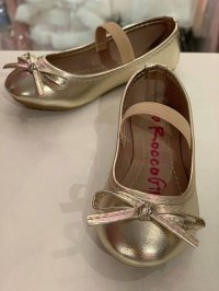 #12158 size:fit 2-6years old Champagne gold shoes with bow