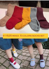 #11525 size: 1-2/3-4/5-6yrs Mixed 5 Colors Socks Set