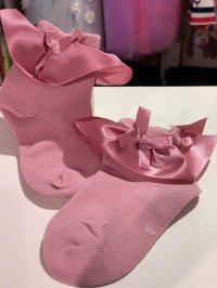 #11035 size:S/M/L (2-4/4-6/6-8 yrs) Dirty pink color ribbon bow short socks