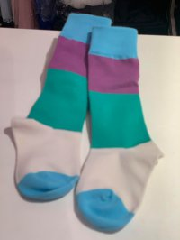 #12442 size: 1-3/4-6/7-9 yrs Blue and dark purple color mix girls long socks