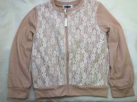 #12974 Size:4-5/6-7/8-9yrs 35%cotton, light pink color lace flower pattern cardigan