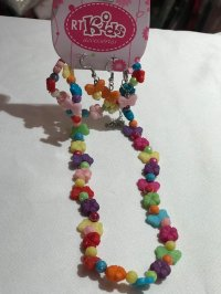 #8999 Colourful plastic butterfly beads necklace + earings